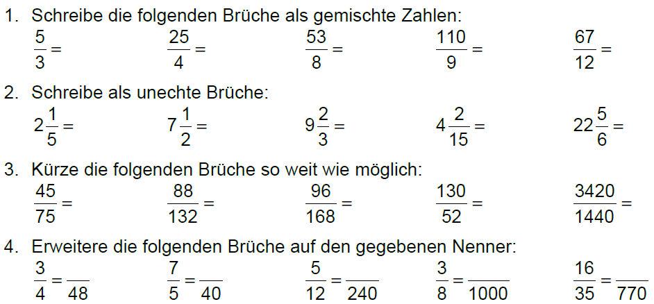 Brüche - Bruchrechnen - Theorie - Übungen – Meinstein.ch