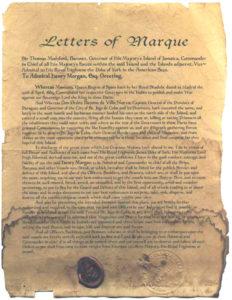 Kaperbrief eines Piraten Kapitäns
